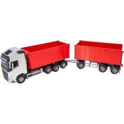 Volvo vit och röd. FH16 750 lastbil med lastväxlare och släp. Emek 1:25