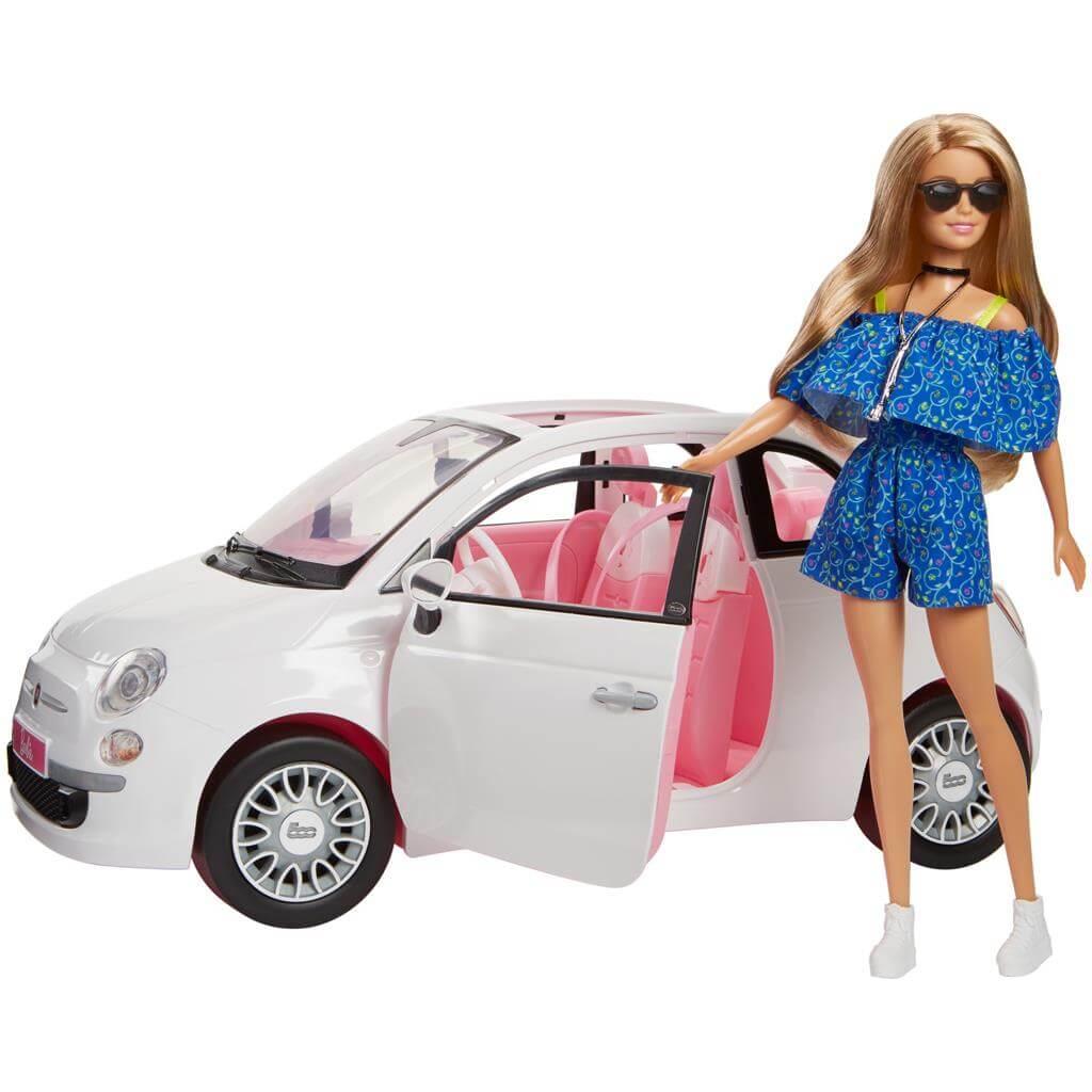 Barbie Spain Barbiebil Fiat 500 med docka FVR07