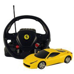 Rastar Radiostyrd Bil Gul Ferrari 458 Italia med stor ratt 1:14