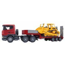 Bruder Leksakslastbil Scania R-Series LKW lastbil med trailer och Caterpillar Bulldozer 1:16