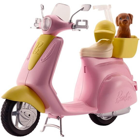 Barbie Scooter Moped Med En Hund