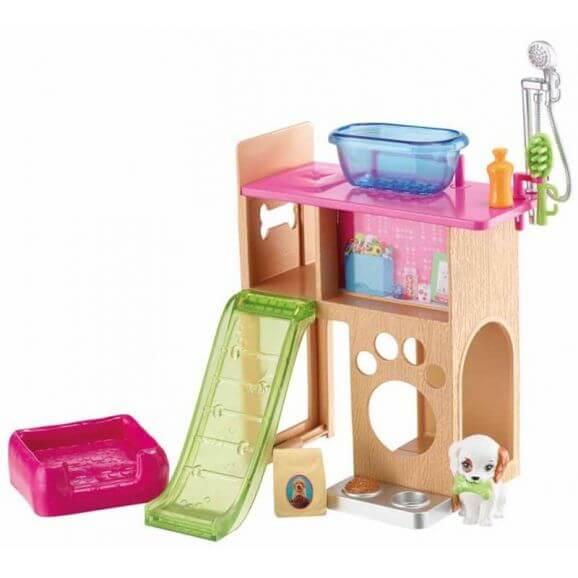 Barbie Puppy and house dockskpåsmöbler hundhus