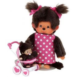 Monchhichi med barnvagn Mother Care Stroller Set