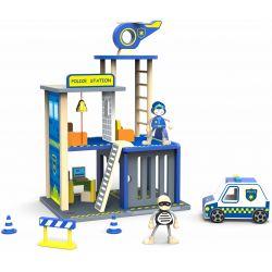 Polisstation leksak i trä med tillbehör Tooky Toy