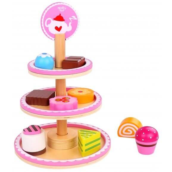 Kakfat lekmat i trä tre våningar, dessert Tooky Toy