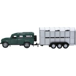 Kids Globe Landrover Defender med djurtransport