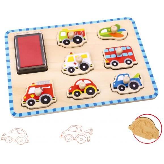 Pussel med fordon och stämpel Tooky Toy