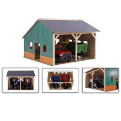 Maskinhall leksaksbyggnad för Bruder traktorer och redskap. Kids Globe. Skala 1:16