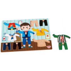 Pussel i trä med kläder, pojke, Tooky Toy