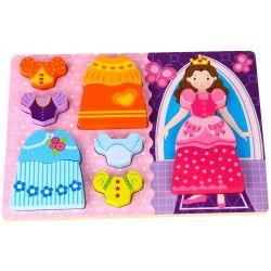 Träpussel med stora pusselbitar, prinsesstema. Tooky Toy