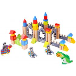 Byggklossar i trä 60 delar riddarborg med tillbehör, Tooky Toy