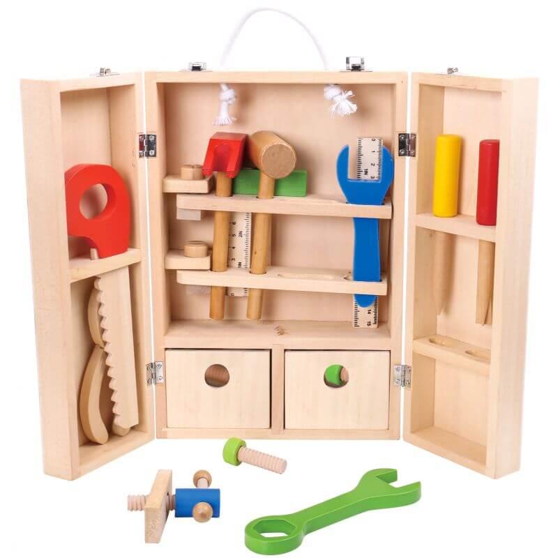 Attraktiva Tooky Toy Verktygslåda i trä leksak för barn stort paket med många YJ-93