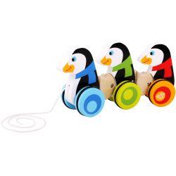 Pingviner i trä dragleksak barn Tooky Toy