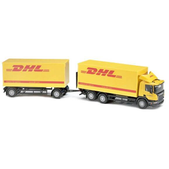 Emek Leksakslastbil Scania DHL distributionsbil med släp