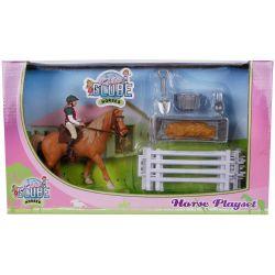 Kids Globe Häst med ryttare och tillbehör