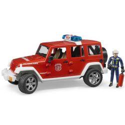 Bruder Jeep Wrangler Rubicon brandbil med figur 02528