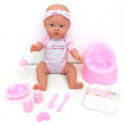 Doll 43 Cm Drink & Pee With 9 Accessories