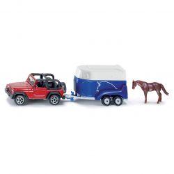 Siku Jeep Wrangler med hästsläp och en häst 1:87