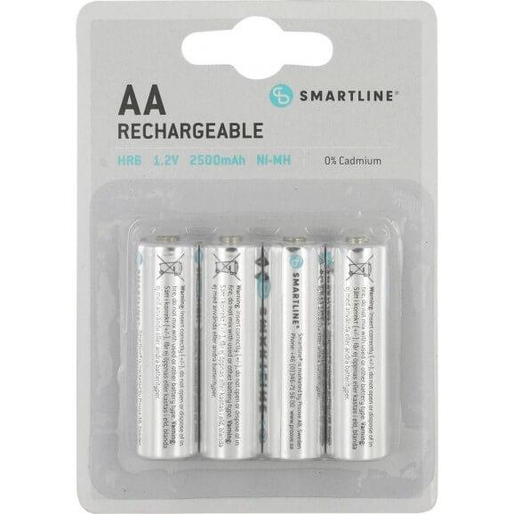 AA 1,5 Volt Batterier. Uppladdningsbara. 4-pack.