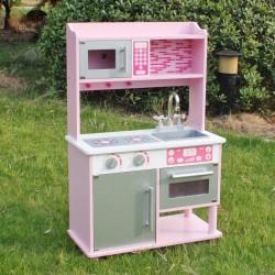 Större leksakskök, rosa med micro, ugn och skåp