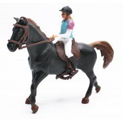 Kids Globe Svart Häst med ryttare 1:24