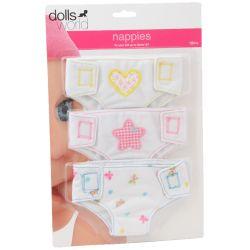 Tygblöjor 3P till 46 cm docka Dolls World