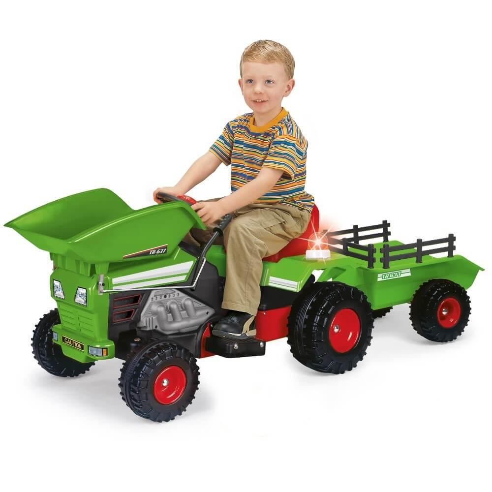 Läs mer om Eltraktor, grön med släp och skopa Track 6V