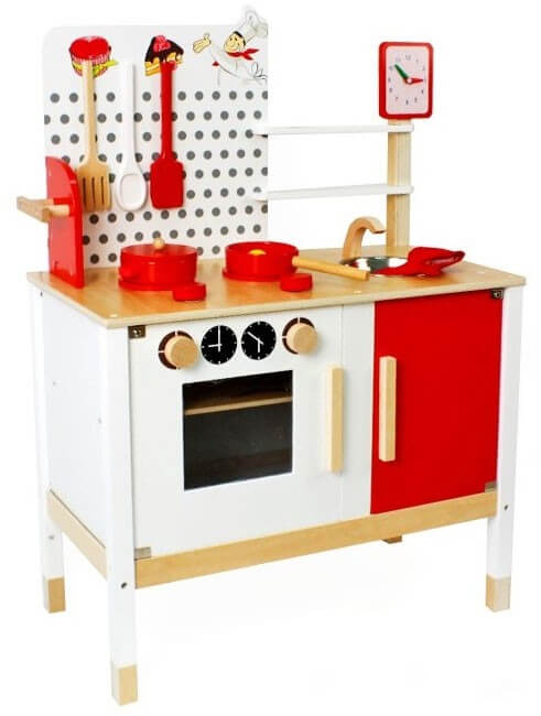 Läs mer om Minikök med ugn och diskho röd ochvit