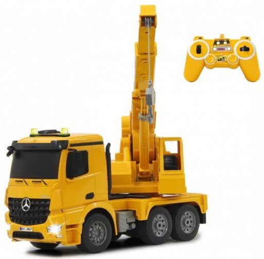 Läs mer om Radiostyrd lastbil med kran Mercedes Arocs 1:20
