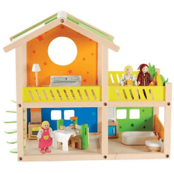 Stilfullt dockhus i trä med möbler och dockor.