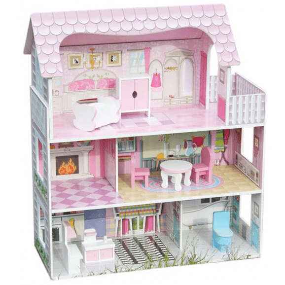 Snyggt dockhus med möbler. Tre våningar som är perfekt att leka med
