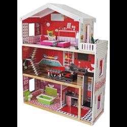 Stort dockhus tre våningar med möbler