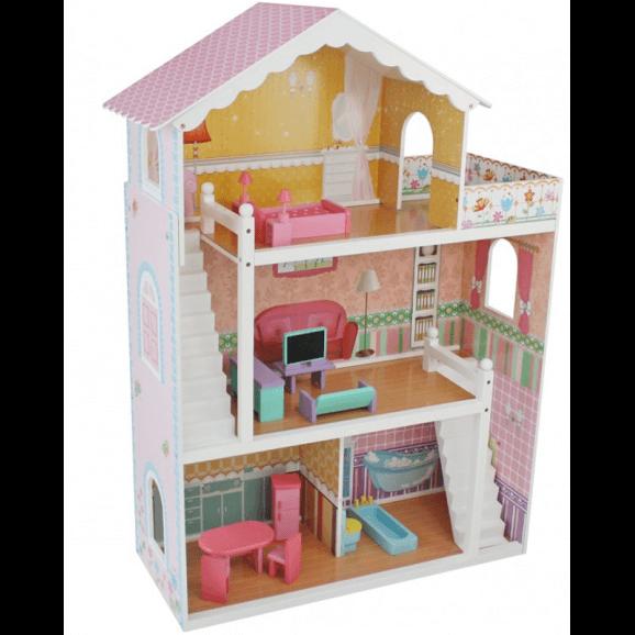 Högt rosa dockhus i tre våningar inkl. möbler