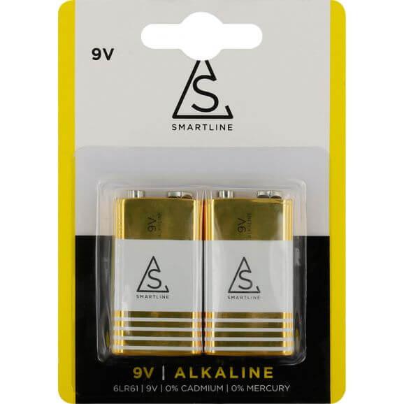 9 Volt, 6LR61 Alkaliska batterier. 2 st.