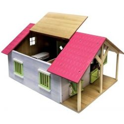 Kids Globe horsestable wood with 2 boxes and workshop 1:24 pink