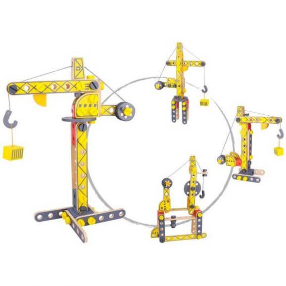 Tooky Toy Byggkran i trä leksak för barn