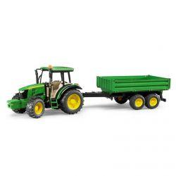 Traktor John Deere 5115M med släpkärra. Bruder. Skala 1:16