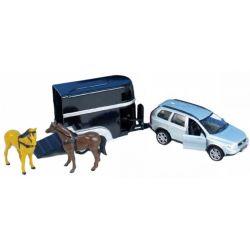 Leksaksbil Volvo XC90 med hästtrailer. Kids Globe.