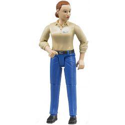 Bruder figur kvinna med blå jeans